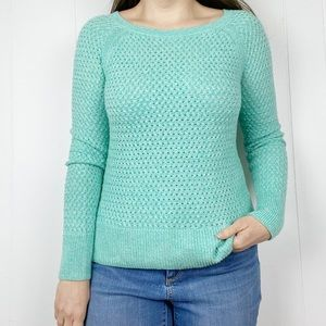 American Eagle Green BasketWeave Pullover Sweater